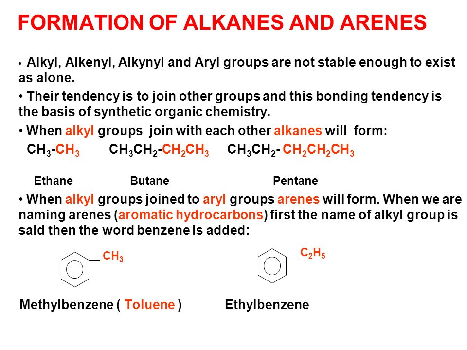 FORMATION OF ALKANES AND ARENES Alkyl, Alkenyl, Alkynyl and Aryl groups are not stable enough to exist as alone. Their tendency is to join other group