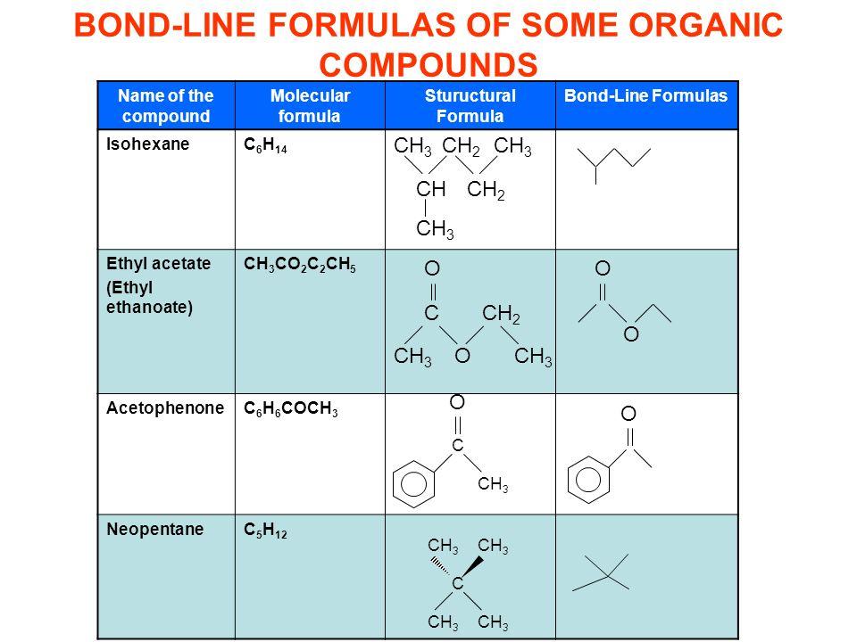 Bazı organik bileşiklerin iskelet (çizgi-bağ) formülleri Name of the compound Molecular formula Stuructural Formula Bond-Line Formulas IsohexaneC 6 H