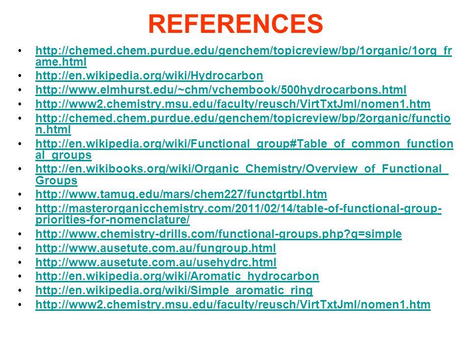 REFERENCES http://chemed.chem.purdue.edu/genchem/topicreview/bp/1organic/1org_fr ame.htmlhttp://chemed.chem.purdue.edu/genchem/topicreview/bp/1organic