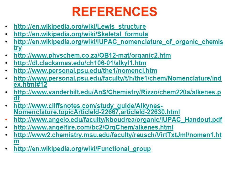 REFERENCES http://en.wikipedia.org/wiki/Lewis_structure http://en.wikipedia.org/wiki/Skeletal_formula http://en.wikipedia.org/wiki/IUPAC_nomenclature_