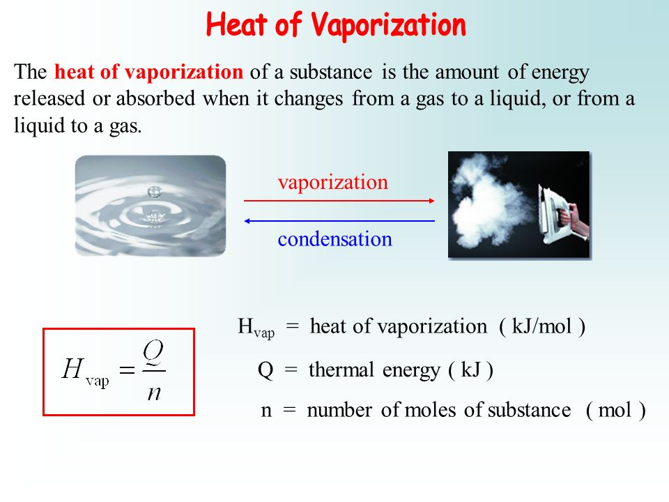 The heat of vaporization of a substance is the amount of energy released or absorbed when it changes from a gas to a liquid, or from a liquid to a gas