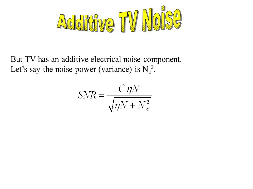 But TV has an additive electrical noise component. Lets say the noise power (variance) is N a 2.