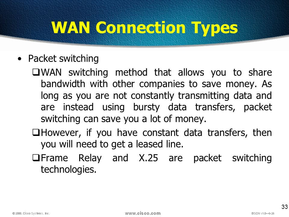 33 WAN Connection Types Packet switching WAN switching method that allows you to share bandwidth with other companies to save money.