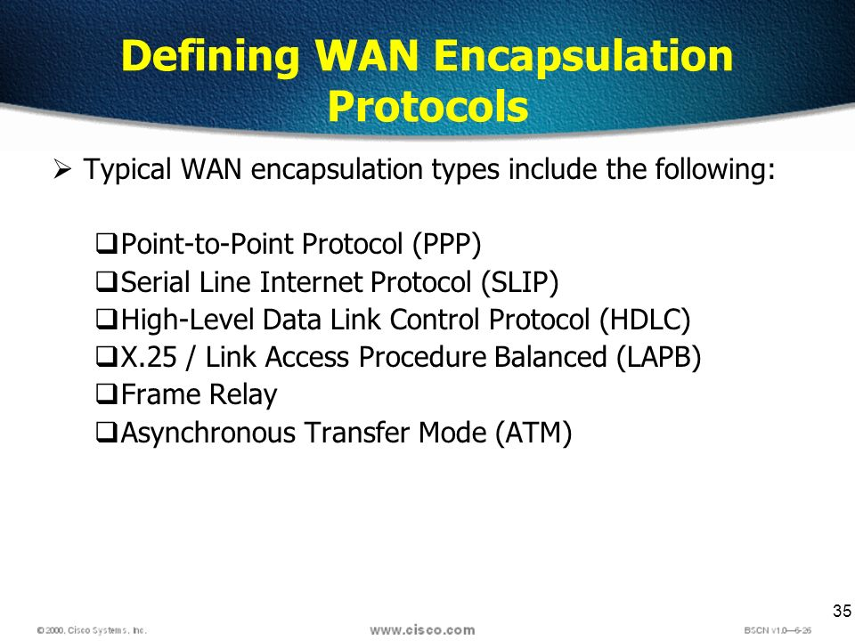 35 Defining WAN Encapsulation Protocols Typical WAN encapsulation types include the following: Point-to-Point Protocol (PPP) Serial Line Internet Prot