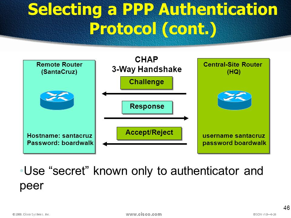 46 Selecting a PPP Authentication Protocol (cont.) Remote Router (SantaCruz) Central-Site Router (HQ) Hostname: santacruz Password: boardwalk username santacruz password boardwalk CHAP 3-Way Handshake Challenge Response Accept/Reject Use secret known only to authenticator and peer