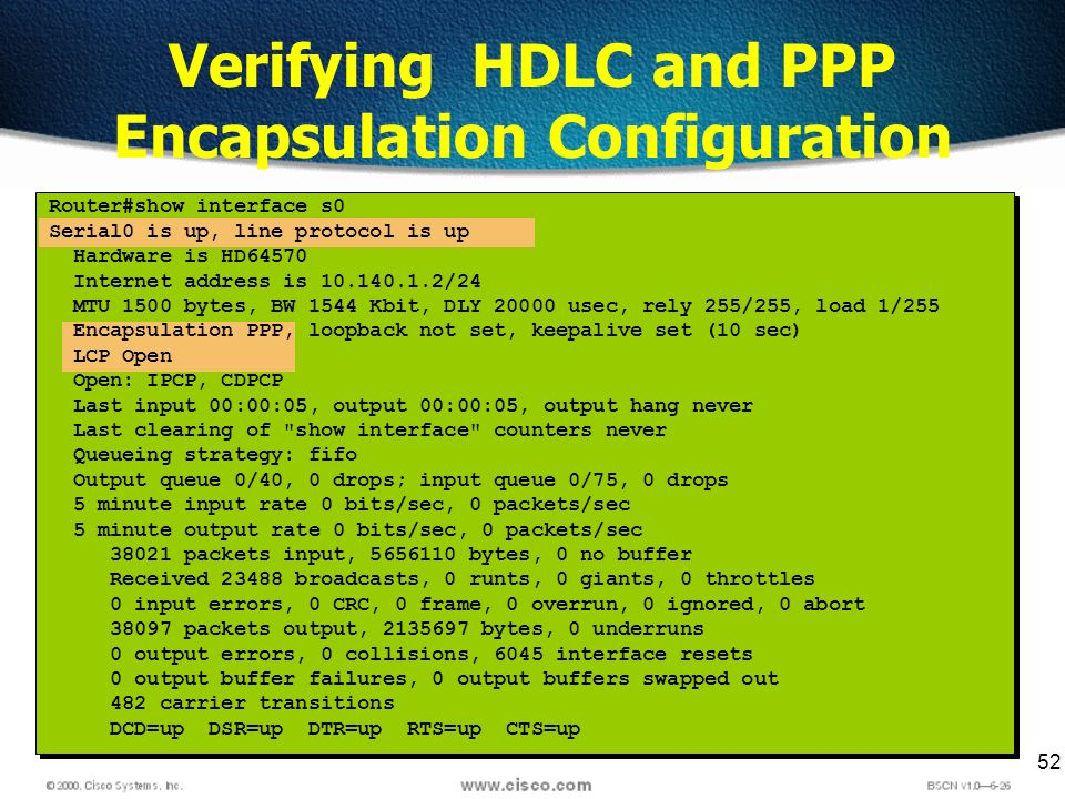 52 Verifying HDLC and PPP Encapsulation Configuration Router#show interface s0 Serial0 is up, line protocol is up Hardware is HD64570 Internet address