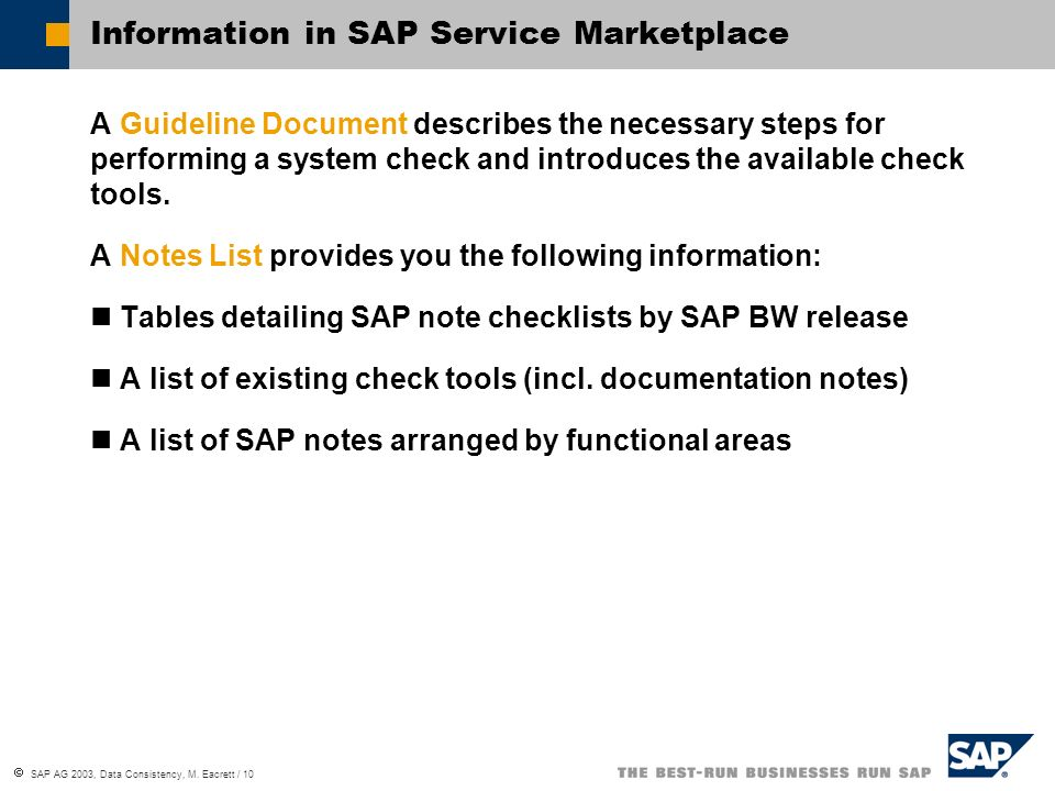 SAP AG 2003, Data Consistency, M.