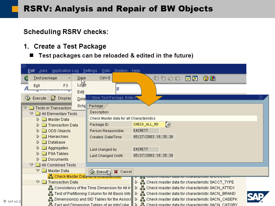 SAP AG 2003, Data Consistency, M. Eacrett / 14 RSRV: Analysis and Repair of BW Objects Scheduling RSRV checks: 1.Create a Test Package Test packages c