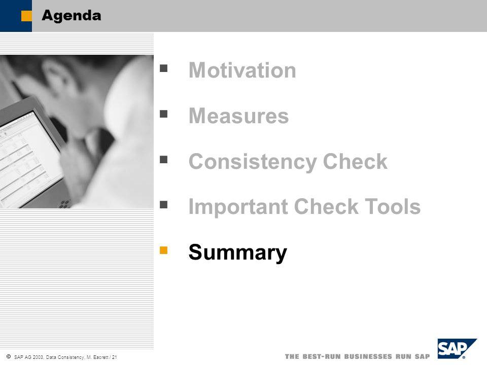 SAP AG 2003, Data Consistency, M. Eacrett / 21 Agenda Motivation Measures Consistency Check Important Check Tools Summary