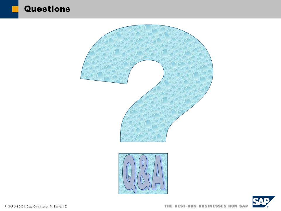 SAP AG 2003, Data Consistency, M. Eacrett / 23 Questions