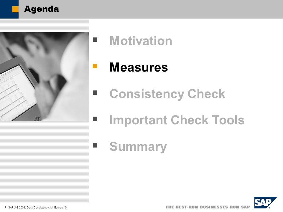 SAP AG 2003, Data Consistency, M. Eacrett / 5 Agenda Motivation Measures Consistency Check Important Check Tools Summary