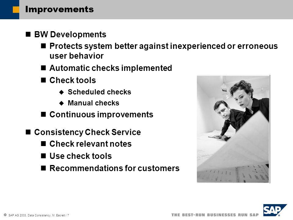 SAP AG 2003, Data Consistency, M. Eacrett / 7 Improvements BW Developments Protects system better against inexperienced or erroneous user behavior Aut