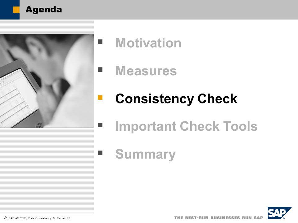SAP AG 2003, Data Consistency, M. Eacrett / 8 Agenda Motivation Measures Consistency Check Important Check Tools Summary