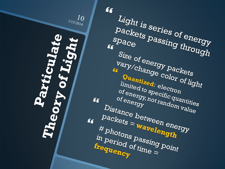 Particulate Theory of Light Light is series of energy packets passing through space Light is series of energy packets passing through space Size of en