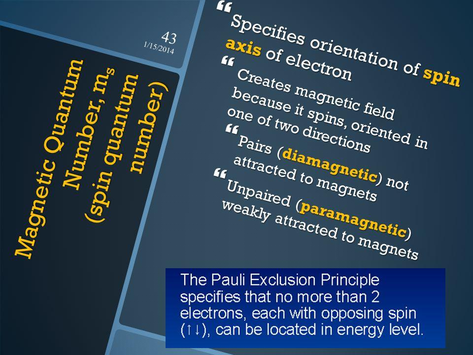 Magnetic Quantum Number, m s (spin quantum number) Specifies orientation of spin axis of electron Specifies orientation of spin axis of electron Creat