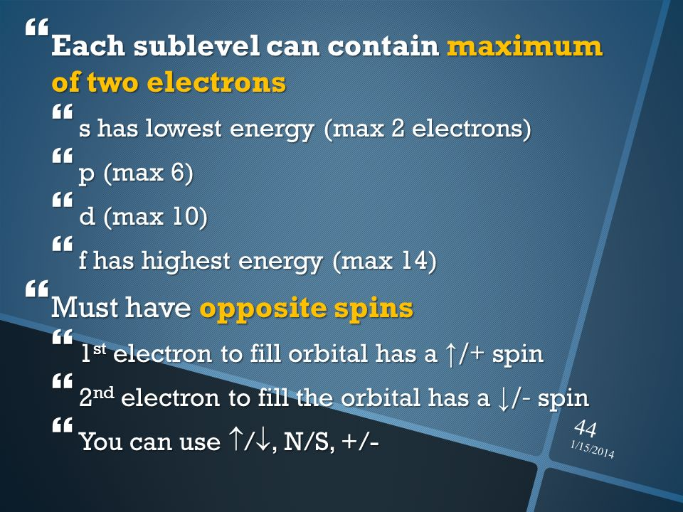 1/15/2014 44 Each sublevel can contain maximum of two electrons Each sublevel can contain maximum of two electrons s has lowest energy (max 2 electron
