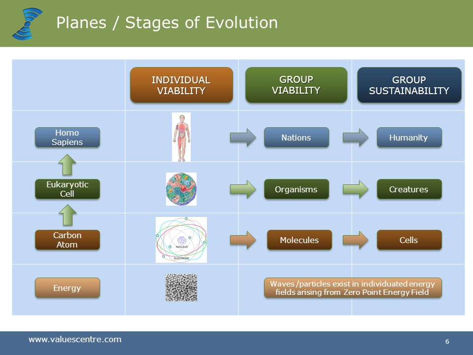 www.valuescentre.com 5 Evolution of Planes of Consciousness 10 -14 m10 -5 m10+ 1 m10+ 7 m10 -21 m Plane 1 Energy Atoms Plane 2 Plane 3 Plane 4 Plane 5 Cells Individuals Humanity 14 Billion years of evolution We are here Big Bang