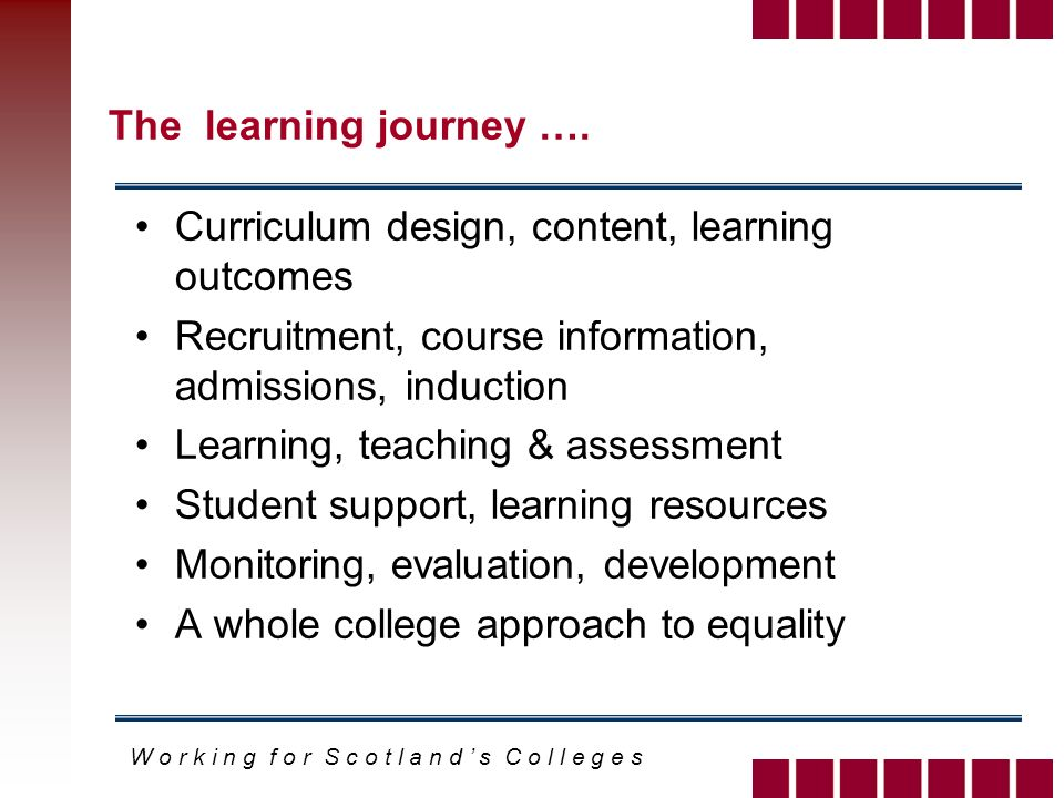 W o r k i n g f o r S c o t l a n d s C o l l e g e s The learning journey ….