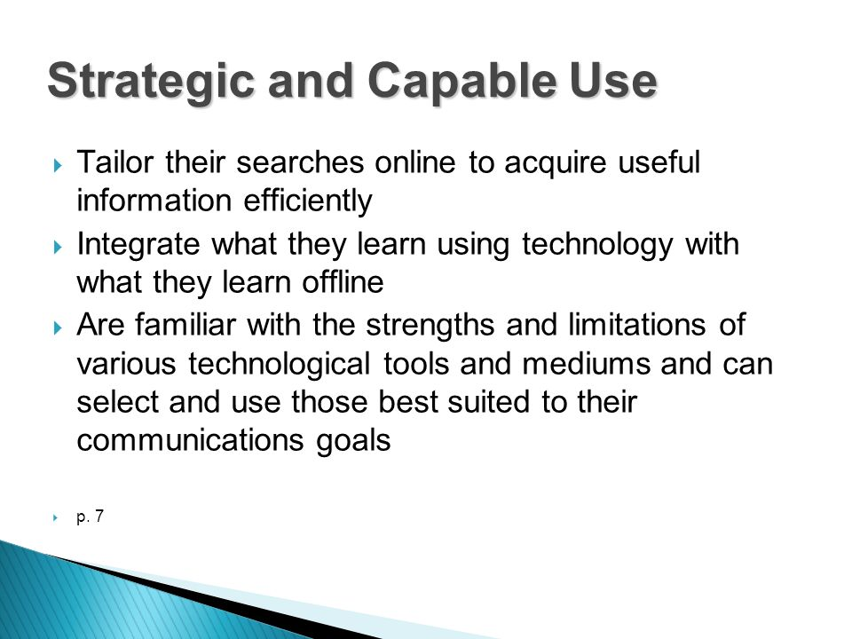 Tailor their searches online to acquire useful information efficiently Integrate what they learn using technology with what they learn offline Are fam