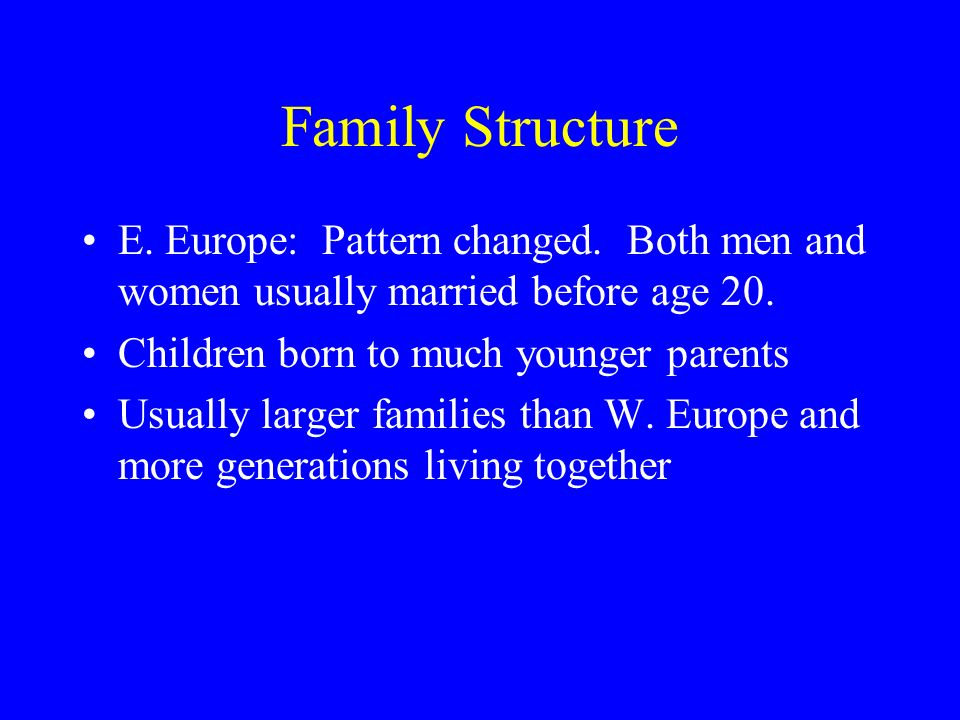 Family Structure E. Europe: Pattern changed. Both men and women usually married before age 20.