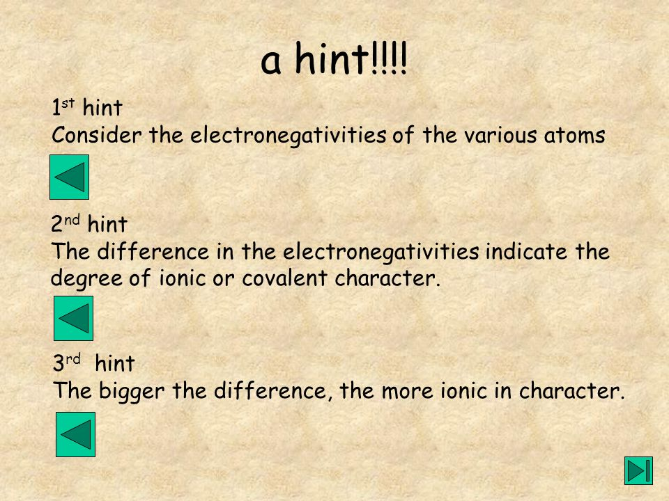 1 st hint Consider the electronegativities of the various atoms 2 nd hint The difference in the electronegativities indicate the degree of ionic or co