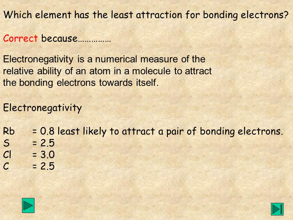 Electronegativity Rb = 0.8 least likely to attract a pair of bonding electrons. S= 2.5 Cl= 3.0 C= 2.5 Electronegativity is a numerical measure of the