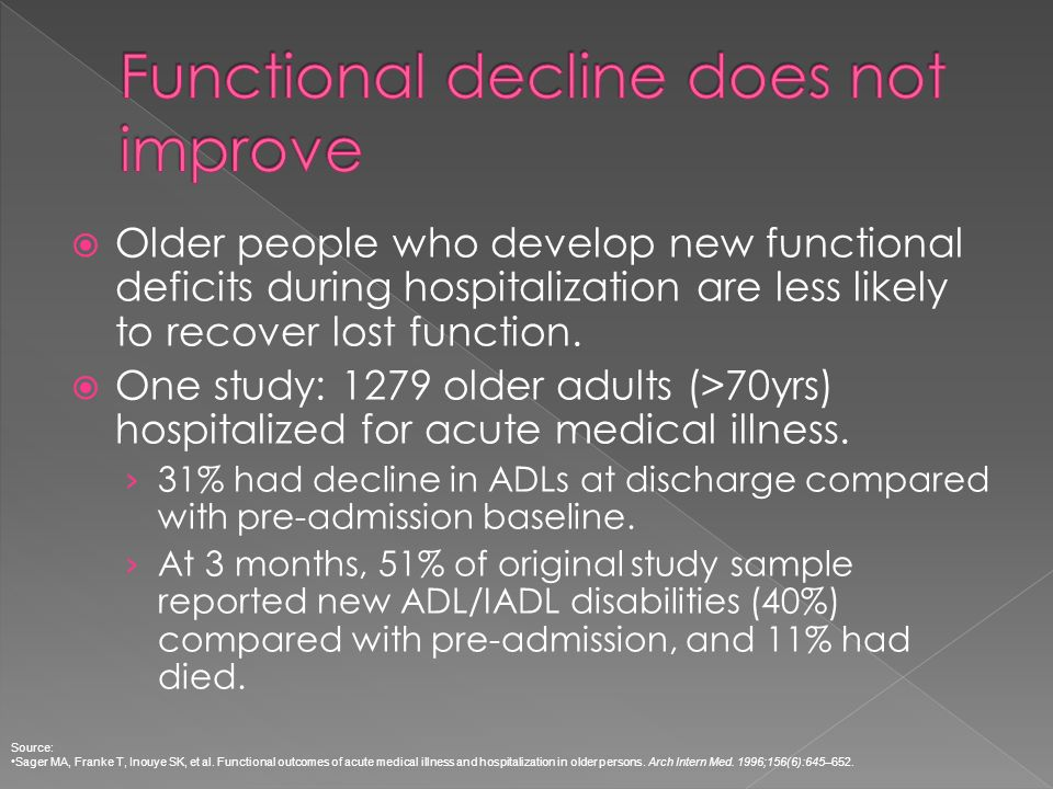 Older people who develop new functional deficits during hospitalization are less likely to recover lost function. One study: 1279 older adults (>70yrs
