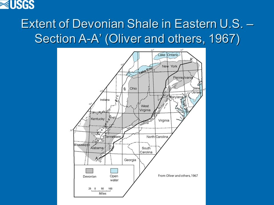 Extent of Devonian Shale in Eastern U.S. – Section A-A (Oliver and others, 1967)