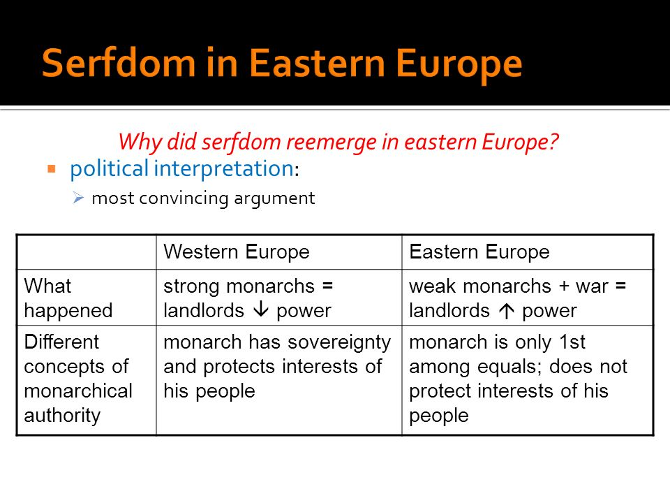 Why did serfdom reemerge in eastern Europe? political interpretation: most convincing argument Western EuropeEastern Europe What happened strong monar