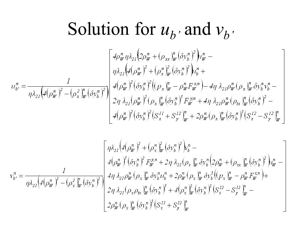 Solution for u b and v b