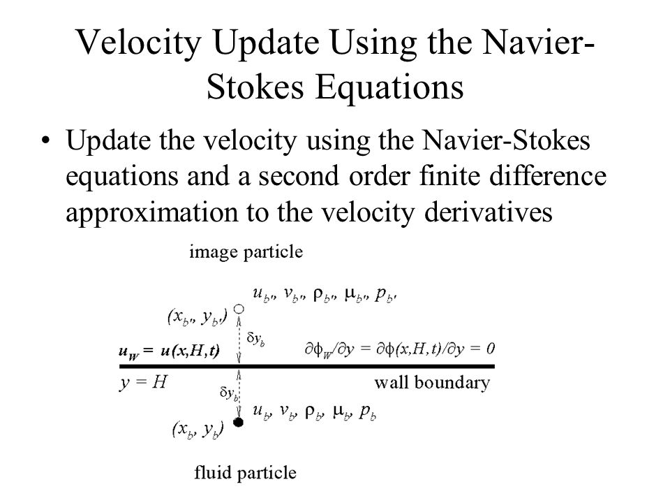 Velocity Update Using the Navier- Stokes Equations Update the velocity using the Navier-Stokes equations and a second order finite difference approximation to the velocity derivatives