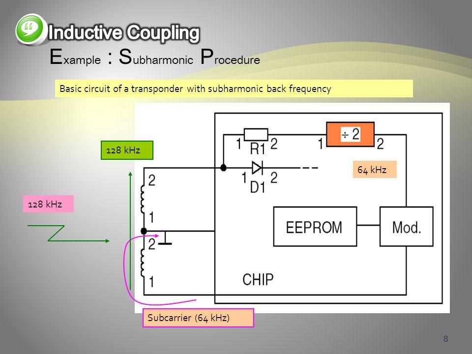 8 E xample : S ubharmonic P rocedure 128 kHz 64 kHz Subcarrier (64 kHz) 128 kHz Basic circuit of a transponder with subharmonic back frequency