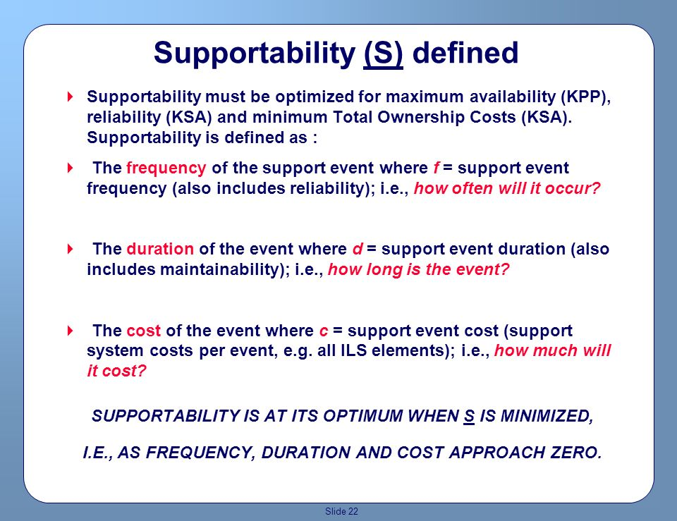 Slide 21 PRIMARY SUPPORTABILITY DRIVERS Reduce TOC: !By reducing the cost to acquire, operate, sustain, and dispose of the system Increase REAL Equipm