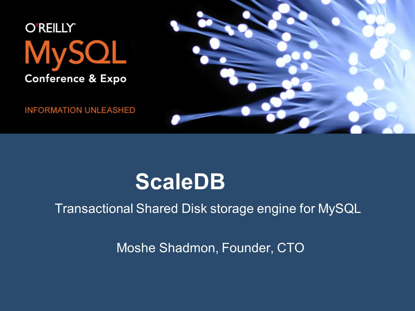 ScaleDB Transactional Shared Disk storage engine for MySQL Moshe Shadmon, Founder, CTO
