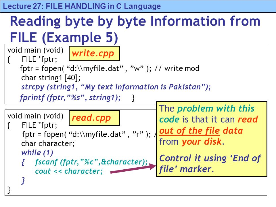 Lecture 27: FILE HANDLING in C Language Reading byte by byte Information from FILE (Example 5) void main (void) { FILE *fptr; fptr = fopen( d:\\myfile