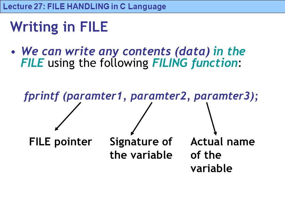 Lecture 27: FILE HANDLING in C Language Writing in FILE We can write any contents (data) in the FILE using the following FILING function: fprintf (paramter1, paramter2, paramter3); FILE pointerSignature of the variable Actual name of the variable