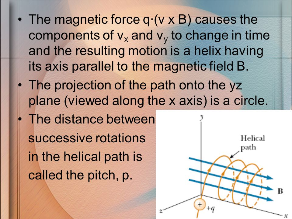 The magnetic force q·(v x B) causes the components of v x and v y to change in time and the resulting motion is a helix having its axis parallel to th