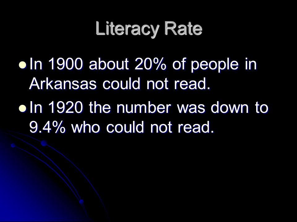 Literacy Rate In 1900 about 20% of people in Arkansas could not read. In 1900 about 20% of people in Arkansas could not read. In 1920 the number was d