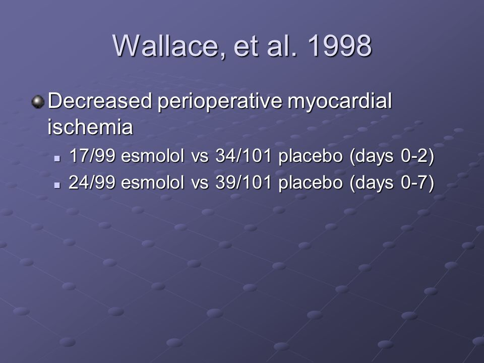 Wallace, et al. 1998 Decreased perioperative myocardial ischemia 17/99 esmolol vs 34/101 placebo (days 0-2) 17/99 esmolol vs 34/101 placebo (days 0-2)