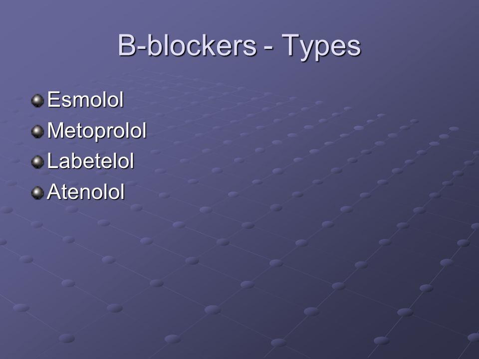 B-blockers - Types EsmololMetoprololLabetelolAtenolol