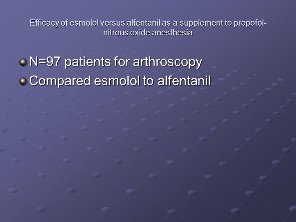 Efficacy of esmolol versus alfentanil as a supplement to propofol- nitrous oxide anesthesia N=97 patients for arthroscopy Compared esmolol to alfentan