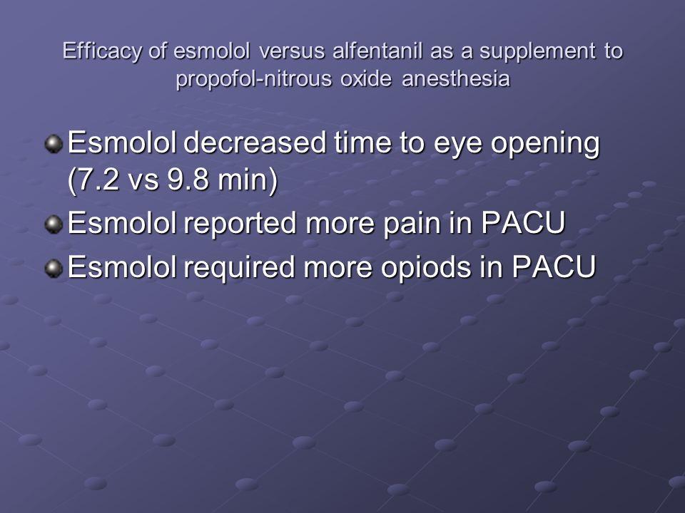 Efficacy of esmolol versus alfentanil as a supplement to propofol-nitrous oxide anesthesia Esmolol decreased time to eye opening (7.2 vs 9.8 min) Esmo
