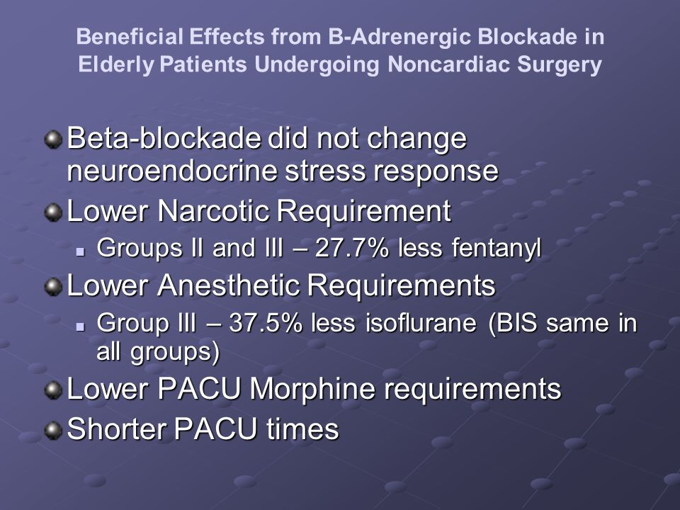 Beneficial Effects from B-Adrenergic Blockade in Elderly Patients Undergoing Noncardiac Surgery Beta-blockade did not change neuroendocrine stress res
