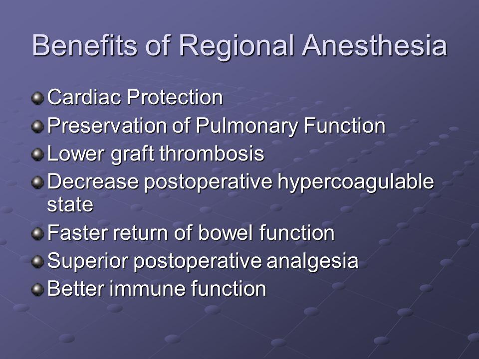 Benefits of Regional Anesthesia Cardiac Protection Preservation of Pulmonary Function Lower graft thrombosis Decrease postoperative hypercoagulable st