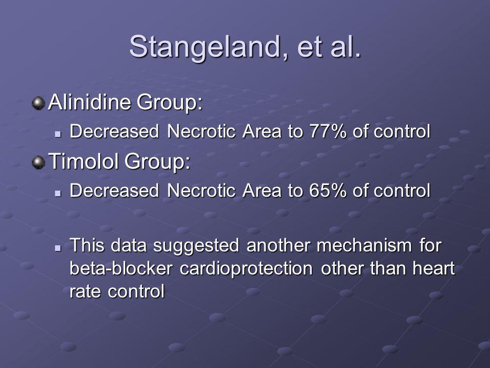 Stangeland, et al. Alinidine Group: Decreased Necrotic Area to 77% of control Decreased Necrotic Area to 77% of control Timolol Group: Decreased Necro