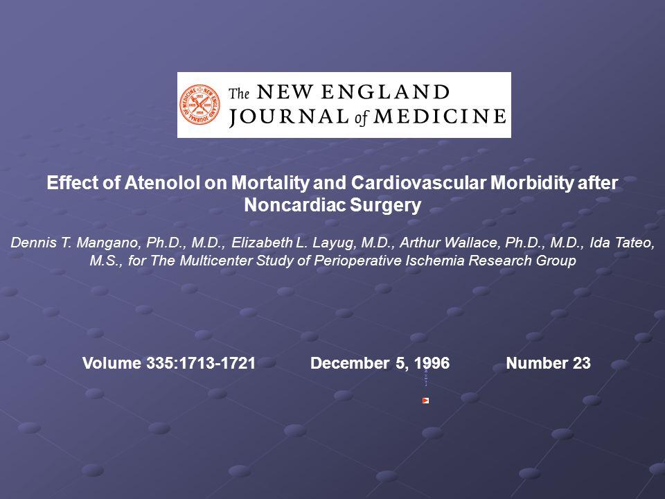 Effect of Atenolol on Mortality and Cardiovascular Morbidity after Noncardiac Surgery Dennis T. Mangano, Ph.D., M.D., Elizabeth L. Layug, M.D., Arthur