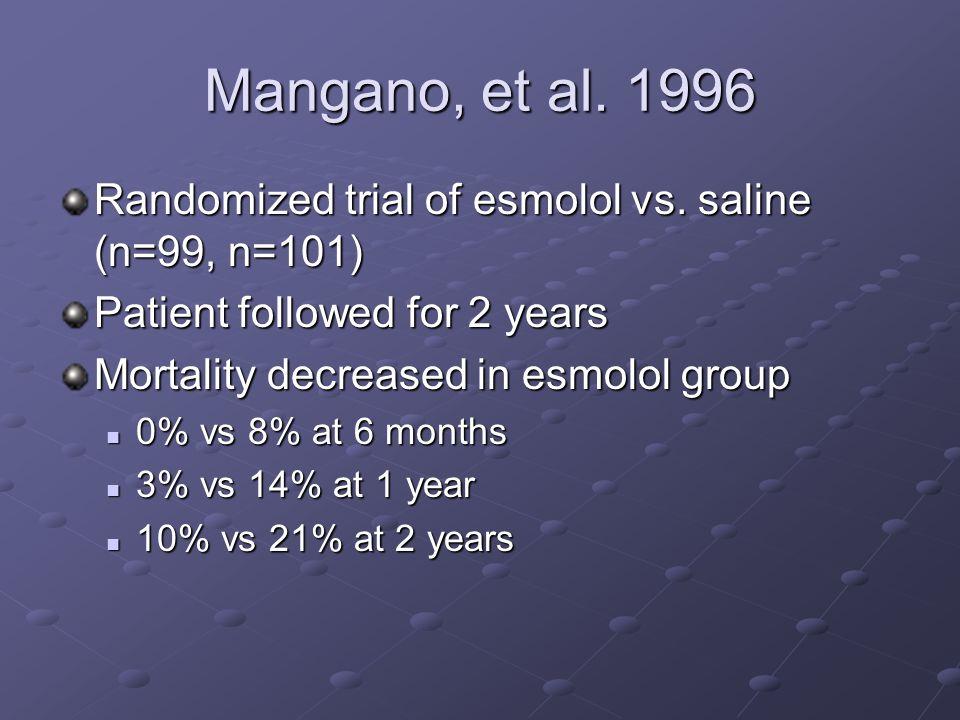 Mangano, et al. 1996 Randomized trial of esmolol vs. saline (n=99, n=101) Patient followed for 2 years Mortality decreased in esmolol group 0% vs 8% a