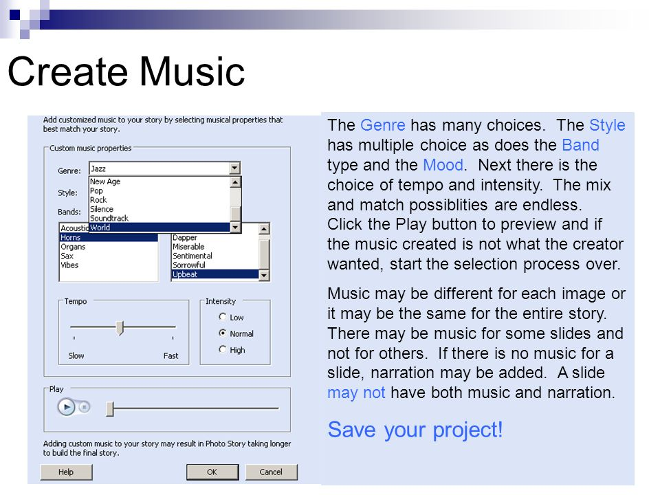 Create Music The Genre has many choices.