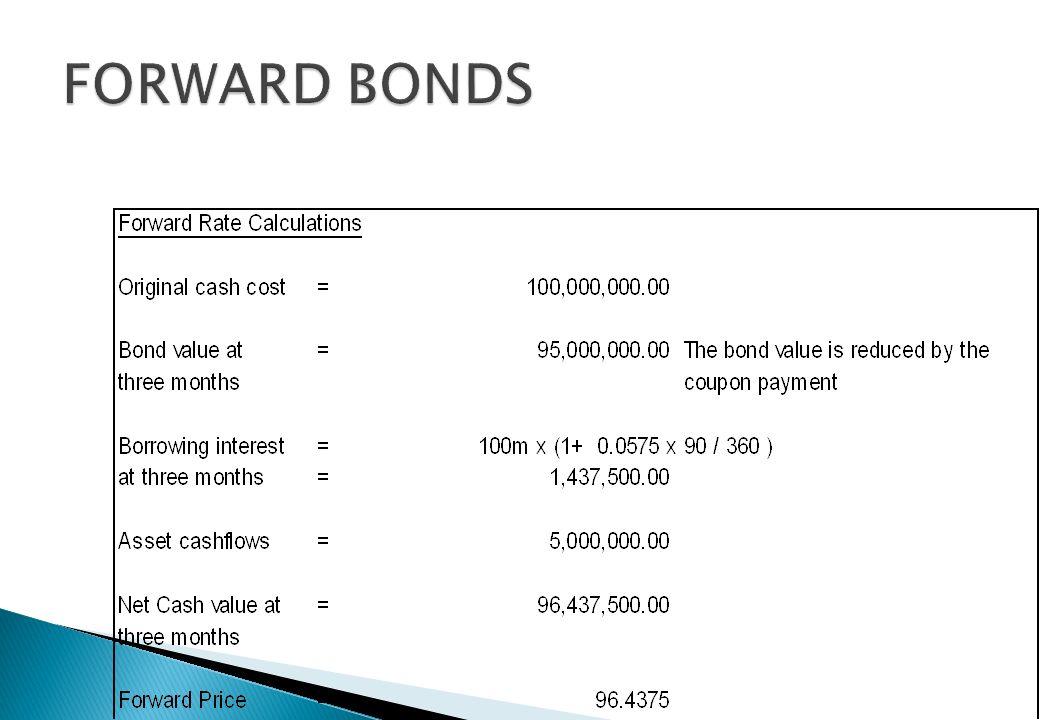Where F= forward price per face value including accrued interest S=Cash bond price including accrued interest r 1 = interest rate to the forward expir