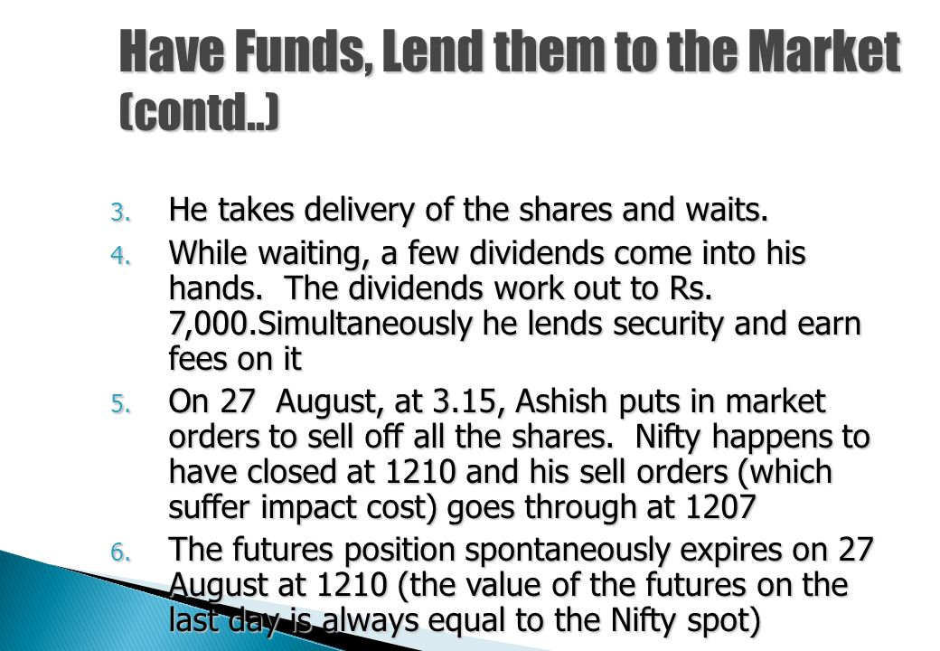 On 1 August, Nifty is at 1200. A futures contract is trading with 27 August expiration for 1230. Ashish wants to earn this return (30/1200 for 27 days